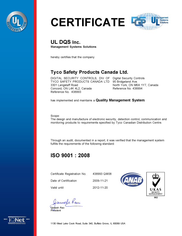 certificat UL DQS Inc Tyco Safety Products Canada Ltd