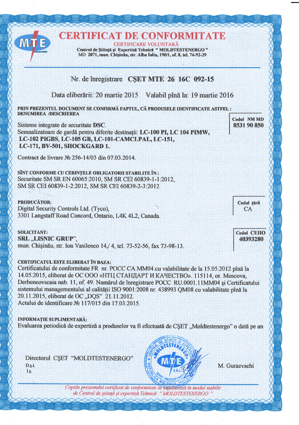 certificat DSC Tyco - LC-100 PI, LC 104 PIMW, LC-102 PIGBS, LC-105 GB, LC-101-CAMCLPAL, LC-151, LC-171, BV-501, SHOCKGARD 1