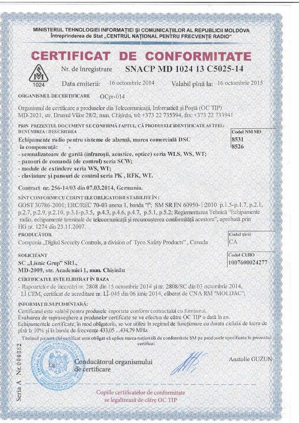 certificat DSC Tyco - panouri, module, claviature - seria WLS, WS, WT, SCW, PK, RFK, WT