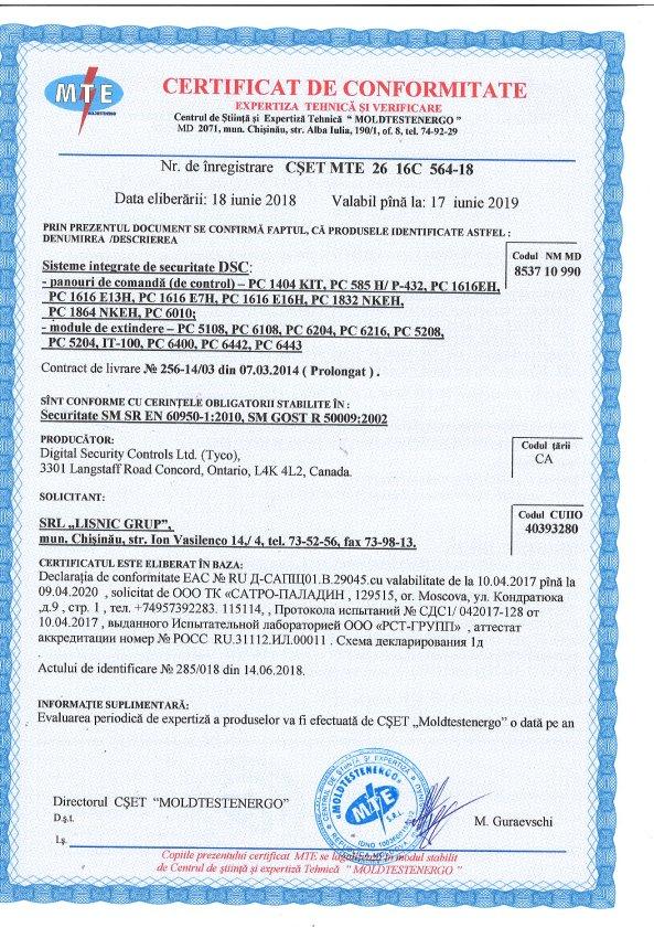 certificat DSC Tyco - PC 1404 KIT, PC585H P-432,PC 1616EH, PC 1616 E13H, PC 1616 E7H, PC1616 E16H, PC 1832 NKEH, PC 1864 NKEH, PC 6010, module PC5108, PC 6108, PC 6204, PC 6216, PC 5208, PC 5204, IT-100, PC 6400, PC 6442, PC 6443