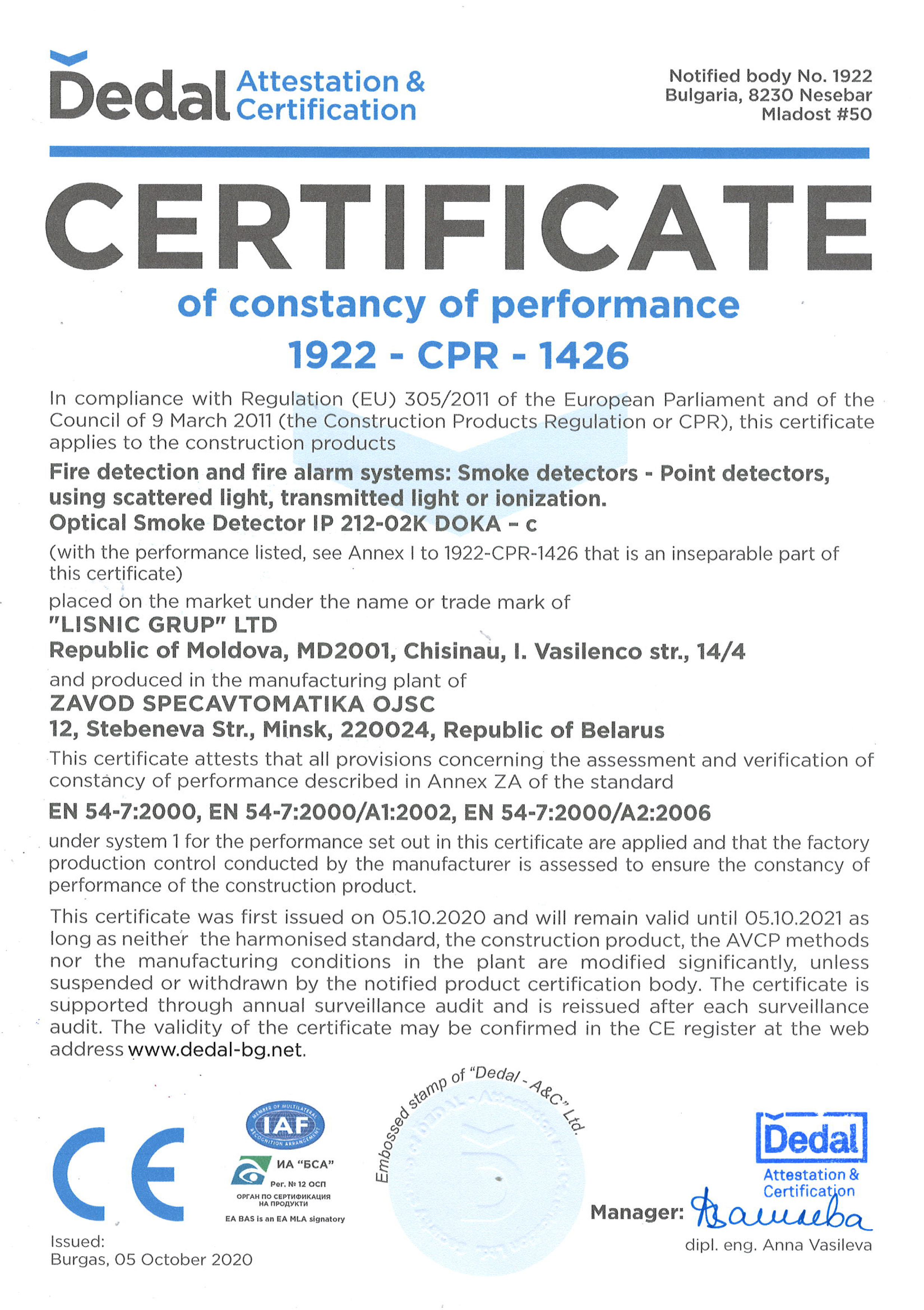certificate of constancy of performance 1922 - cpr - 1426
